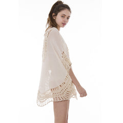 JP822 Solid Crochet Cover Up