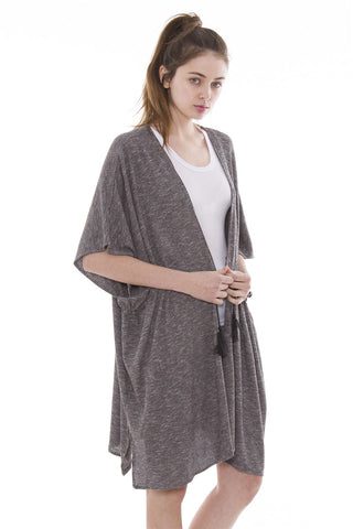 JP852 Solid Color Ribbed Drawstring Topper / Cover-Up / Kimono