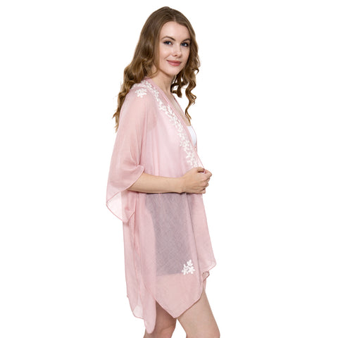 JP901 Super Soft Solid Color Topper / Cover-Up / Kimono with Embroidered Floral
