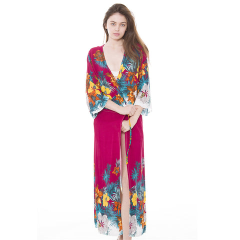 JP912 Tie-front Allover Floral Print Long Topper / Cover-Up / Kimono