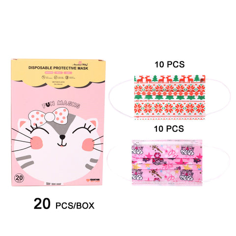 KD-FM-MIX1111  American Bling Kids 3 Ply Disposable Assorted Xmas & Princess Print Face Mask Non-Medical (20Pcs/Box)