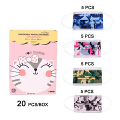 KD-FM-1166  American Bling Kids 3 Ply Disposable Assorted Color Camo Print Face Mask Non-Medical (20Pcs/Box)