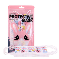 KD-FMWT1 American Bling Kids 3 Ply Disposable Pink Angel Cat Face Mask Non-Medical (5pcs/Pack)
