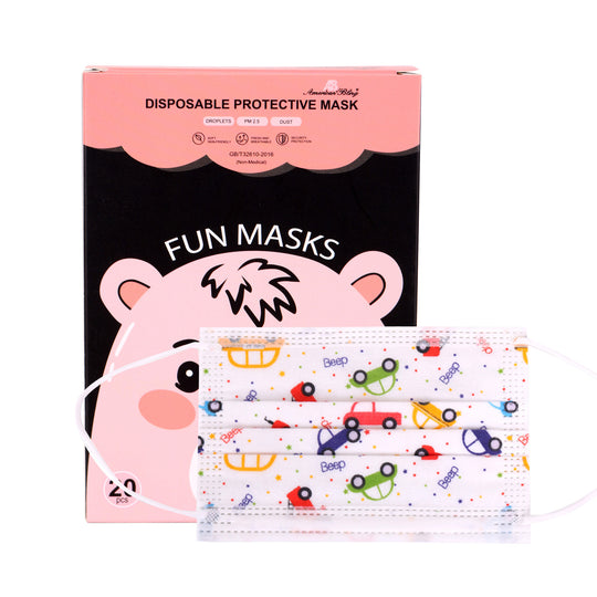 KD-FMWT-20  American Bling Kids 3 Ply Disposable Trucks Print Face Mask Non-Medical (20Pcs/Box)