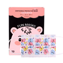 KD-FMWT1-20 American Bling Kids 3 Ply Disposable Pink Angel Cat Face Mask Non-Medical (20Pcs/Box)