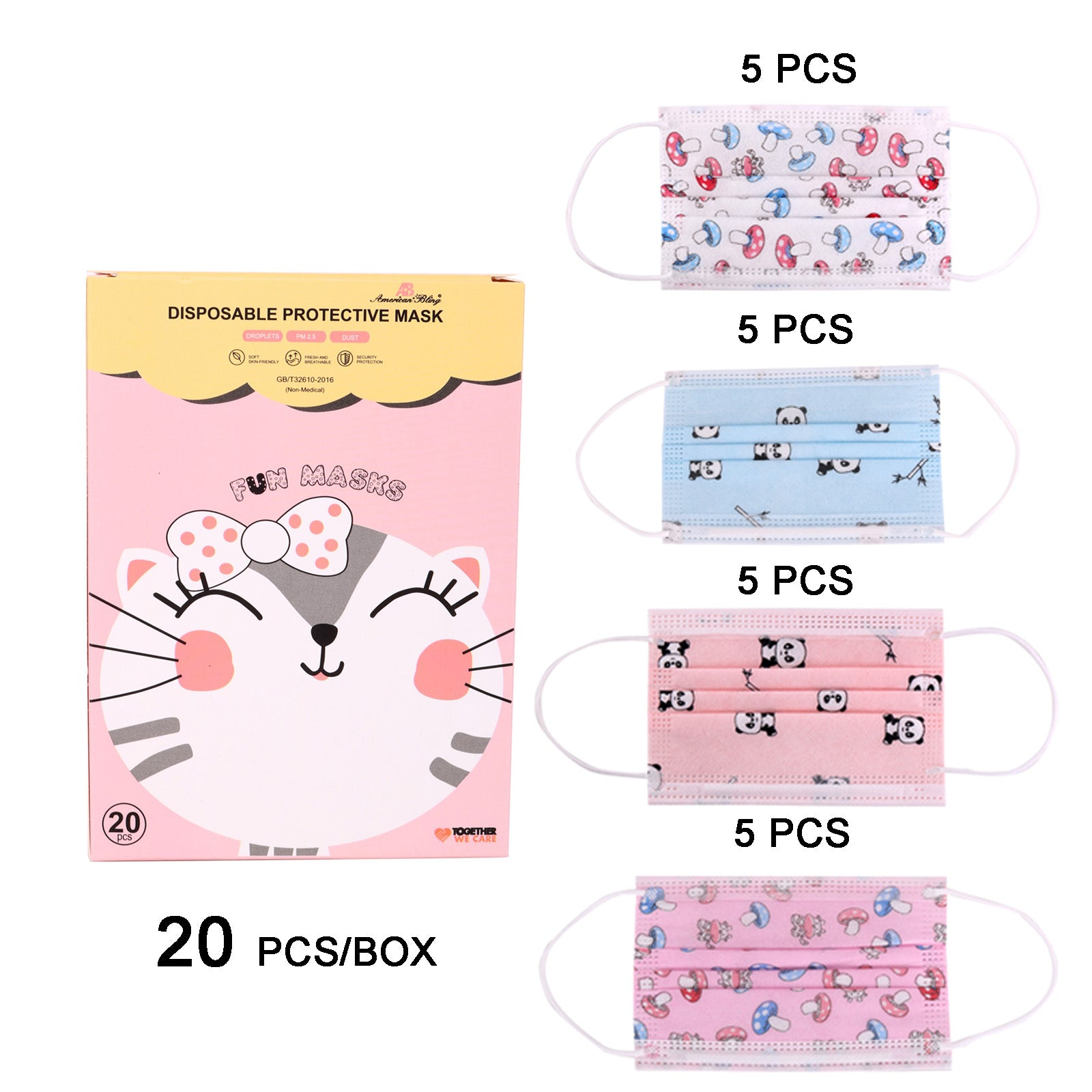 KD-FM-MIX1199  American Bling Kids 3 Ply Disposable Assorted Cartoon Print Face Mask Non-Medical (20Pcs/Box)