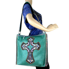 LAT-630C Delila 100% Genuine Leather Hand Embroidered Collection Tote Bag