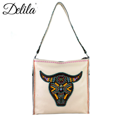 LAT-630L Delila 100% Genuine Leather Hand Embroidered Collection Tote Bag