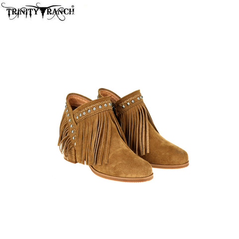 LBT-001  Trinity Ranch Western Leather Suede Booties Fringe Collection
