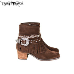 LBT-006  Trinity Ranch Western Leather Suede Booties Buckle Collection