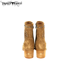LBT-007 Trinity Ranch Western Leather Suede Booties Studs Collection