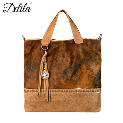 LEA-6027 Delila 100% Genuine Leather Hair-On Hide Collection Tote/Crossbody