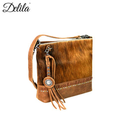 LEA-6029 Delila 100% Genuine Leather Hair-On Hide Collection Crossbody