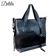 LEA-6030 Delila 100% Genuine Leather Hair-On Hide Collection Tote/Crossbody