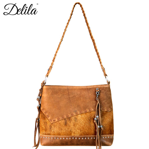 LEA-6031 Delila 100% Genuine Leather Hair-On Hide Collection Hobo