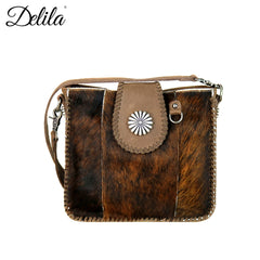 LEA-6032 Delila 100% Genuine Leather Hair-On Hide Collection Crossbody