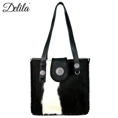 LEA-6033 Delila 100% Genuine Leather Hair-On Hide Collection Tote