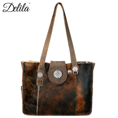 LEA-6034 Delila 100% Genuine Leather Hair-On Hide Collection Wide Tote