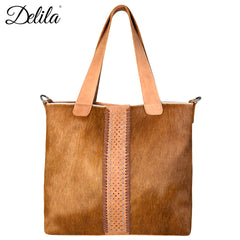 LEA-6036 Delila 100% Genuine Leather Hair-On Hide Collection Tote