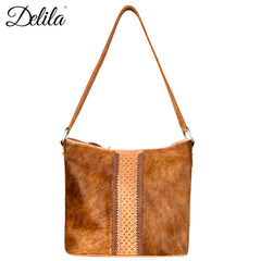 LEA-6038 Delila 100% Genuine Leather Hair-On Hide Collection Hobo