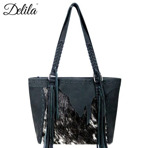 952fd6c6c LEA-6049 Delila 100% Genuine Leather Hair-On Hide Collection Tote