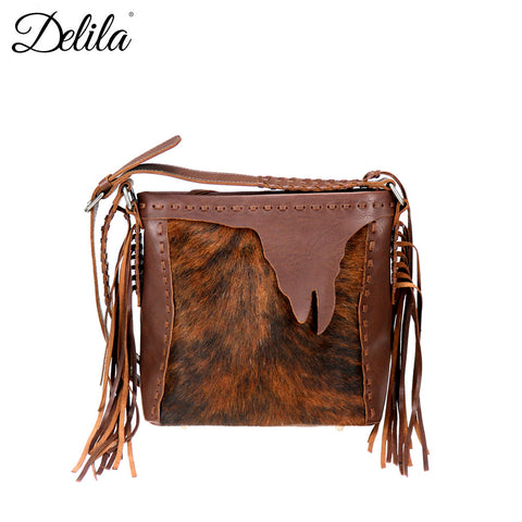 LEA-6050 Delila 100% Genuine Leather Hair-On Hide Collection Crossbody