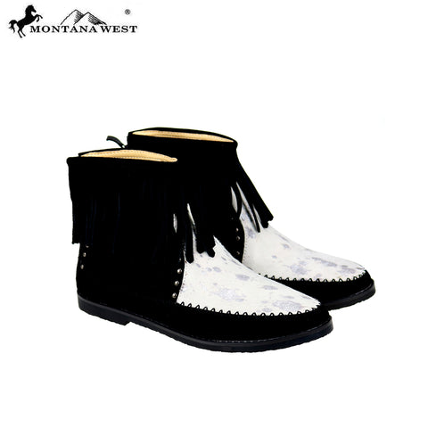 MBT-1903 Montana West Western Booties Genuine Hair-On Hide- Black By Case