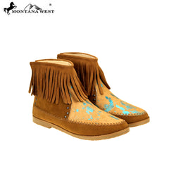MBT-1903 Montana West Western Booties Genuine Hair-On Hide - Brown By Size