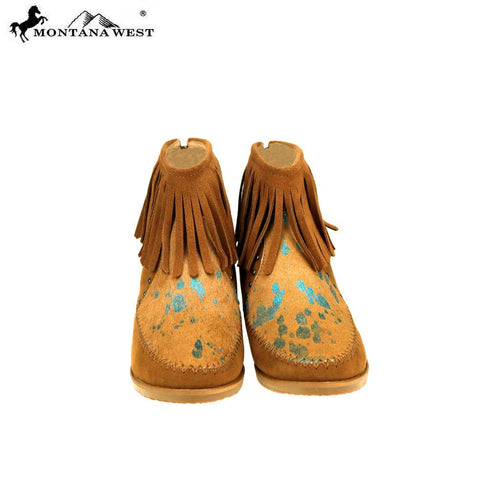 MBT-1903 Montana West Western Booties Genuine Hair-On Hide - Brown By Case