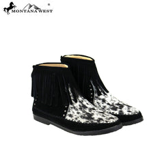 MBT-1904  Montana West Western Booties Genuine Hair-On Cowhide - Black By Size