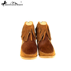 MBT-1904  Montana West Western Booties Genuine Hair-On Cowhide - Brown By Case