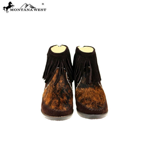 MBT-1904  Montana West Western Booties Genuine Hair-On Cowhide - Coffee By Case
