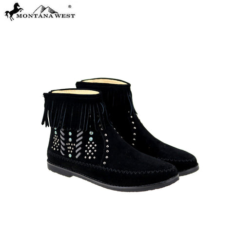 MBT-1907  Montana West Western Booties - Black By Case
