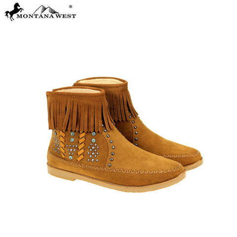 MBT-1907  Montana West Western Booties - Brown By Case