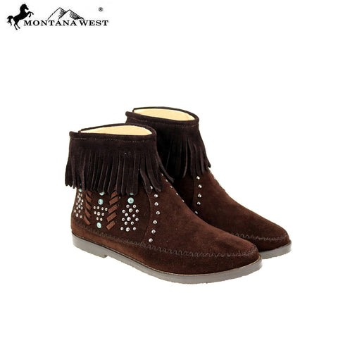 MBT-1907  Montana West Western Booties - Coffee By Size