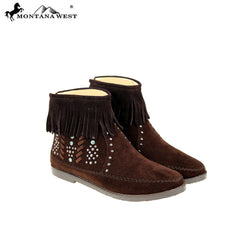 MBT-1907  Montana West Western Booties - Coffee By Case