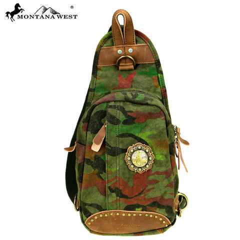 MTB-7001 Montana West Genuine Leather Washed Canvas Travel Bag Collection Crossbody Sling Bag