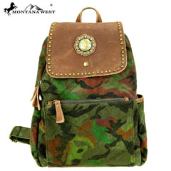 MTB-7003 Montana West Genuine Leather Canvas Travel Bag Collection Backpack
