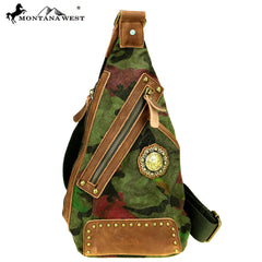 MTB-7005 Montana West Genuine Leather Washed Canvas Travel Bag Collection Crossbody Sling Bag