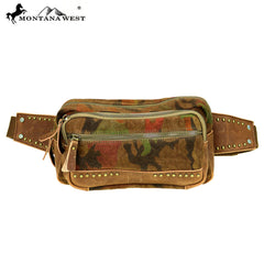 MTB-7006 Montana West Genuine Leather Washed Canvas Travel Bag Collection Waist Bag