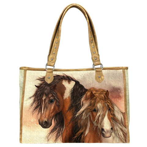 MW08-8112 Montana West Horse Art Canvas Tote Bag-Laurie Prindle Collection