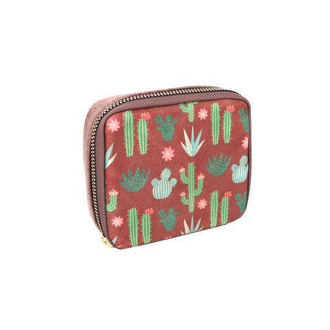 MW1000-193 Montana West Western Design Pill Box Travel Organizer/ Zippered Case Cactus Print