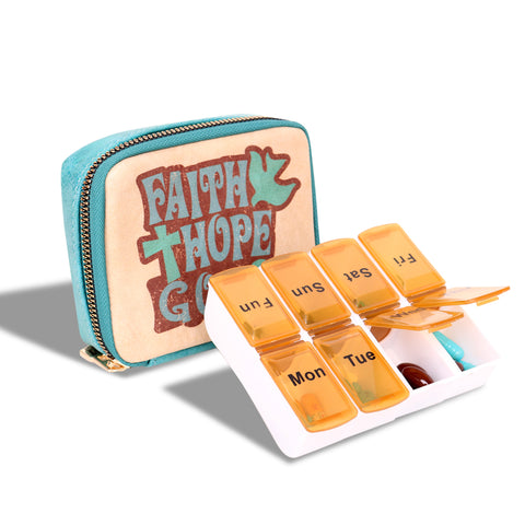 "MW1001-193 Montana West Western Design Pill Box Travel Organizer/ Zippered Case ""FAITH"" Print"