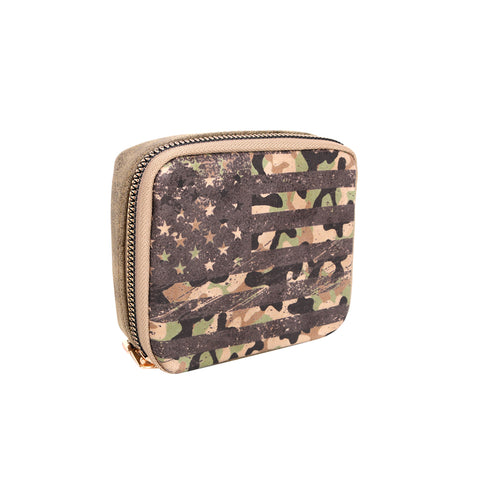 MW1002-193 Montana West Western Design Pill Box Travel Organizer/ Zippered Case Camo US Flag Print