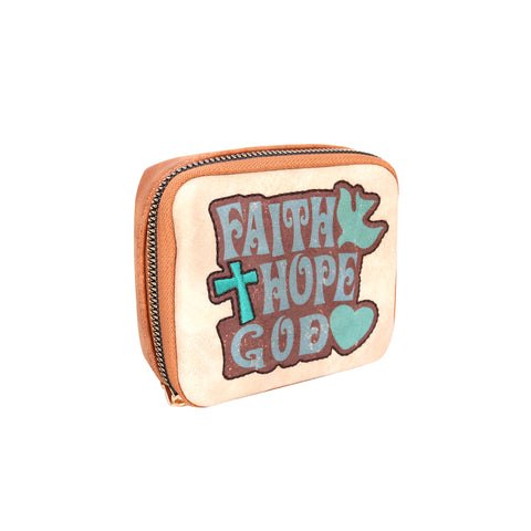 "MW1012-193 Montana West Western Design Pill Box Travel Organizer/ Zippered Case ""FAITH"" Print"
