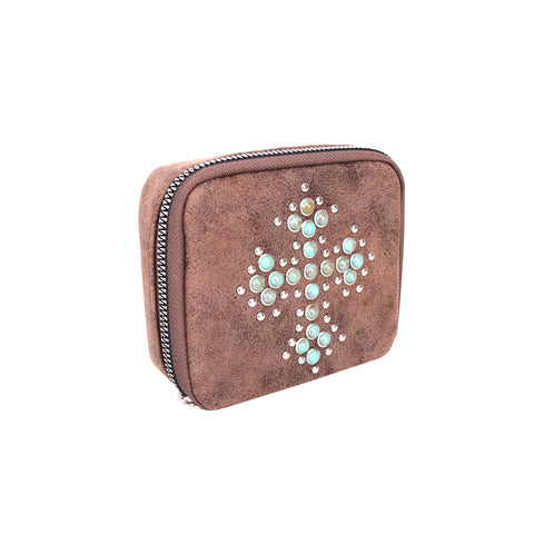MW1013-193 Montana West Western Design Pill Box Travel Organizer/ Zippered Case Turquoise Stone Cross