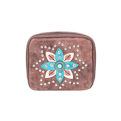 MW1014-193 Montana West Western Design Pill Box Travel Organizer/ Zippered Case Floral Embroidered