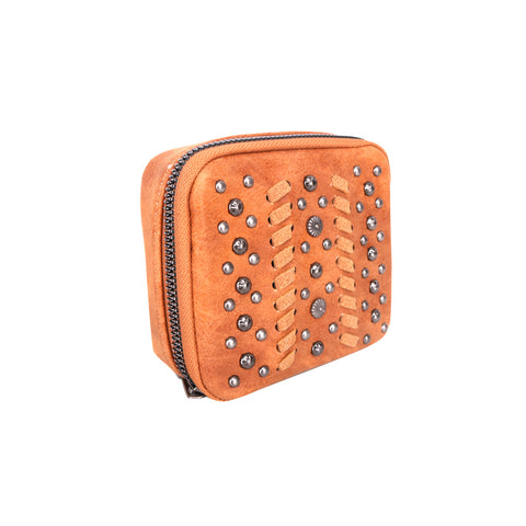 MW1016-193 Montana West Western Design Pill Box Travel Organizer/ Zippered Case Studs Accent