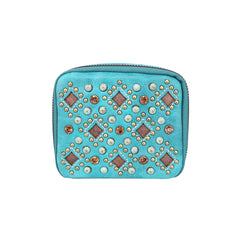 MW1017-193 Montana West Western Design Pill Box Travel Organizer/ Zippered Case Studs Accent