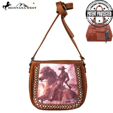 MW154G-8360 Montana West Horse Art Concealed Messenger Bag-Laurie Prindle Collection